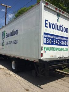 The Evolution Moving Company San Antonio truck our local movers Texas use.