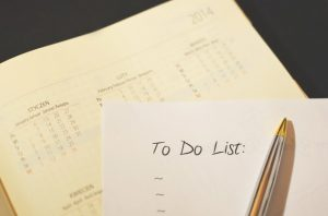 A calender and a 'to do' list can help you cope with moving stress