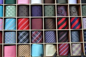 Bunch of ties folded in a moving box