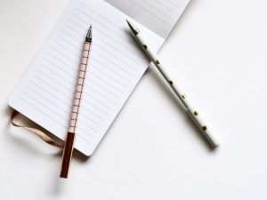 two pens and a notebook