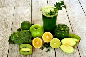 Green smoothie on the table