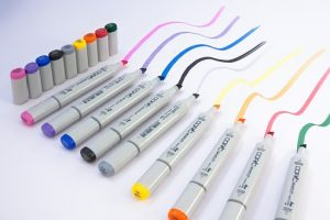markers in various colors