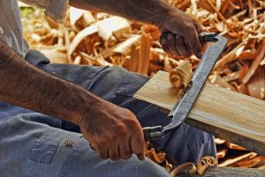 Carpenter working on a board
